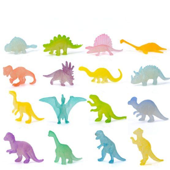 16pcs Luminous Mini Glow in The Dark Dinosaur Models