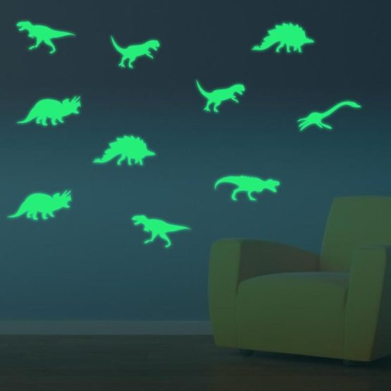 9pcs Glow in The Dark Dinosaur Decals