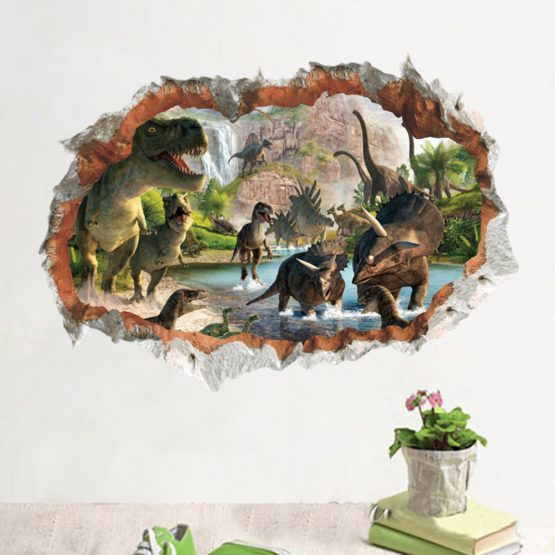 DIY 3D Removable Dinosaur Wall Sticker Decal