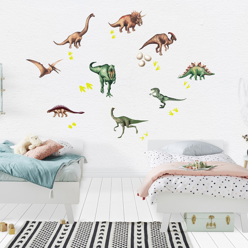 Glow in The Dark Dinosaur,35pcs Luminous Dinosaur Wall Stickers 3D Color Luminous Dinosaur Wall Stickers,Childrens Favorite Room Decoration
