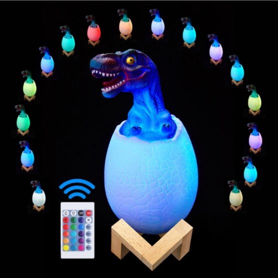 3D Dinosaur Night Light with 16 Colors and Remote